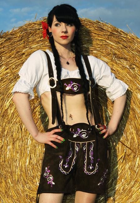 Frauen-Lederhose-braun-lila-Gr-32-44-Girl-Trachtenhose-Damen-Trachten-Lederhose