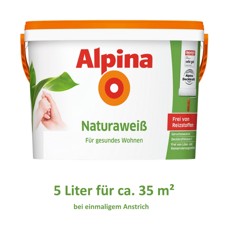 alpina natura weiss wandfarbe wei frei von reizstoffen kinderzimmer gr enwahl ebay. Black Bedroom Furniture Sets. Home Design Ideas