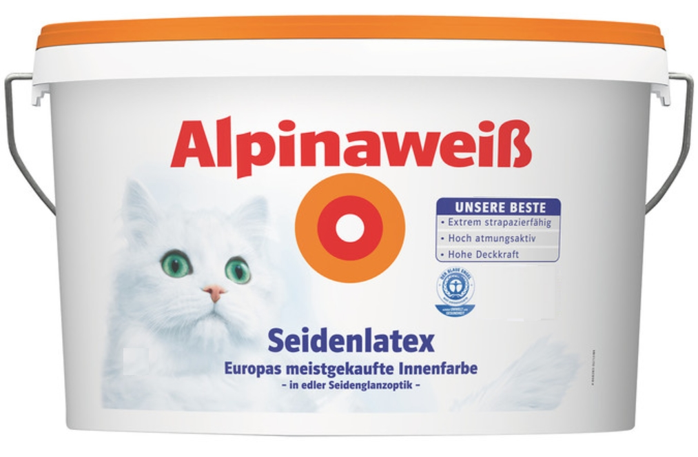 alpina alpinawei seidenlatex latexfarbe wandfarbe seidenglanzoptik 10 l wei ebay. Black Bedroom Furniture Sets. Home Design Ideas