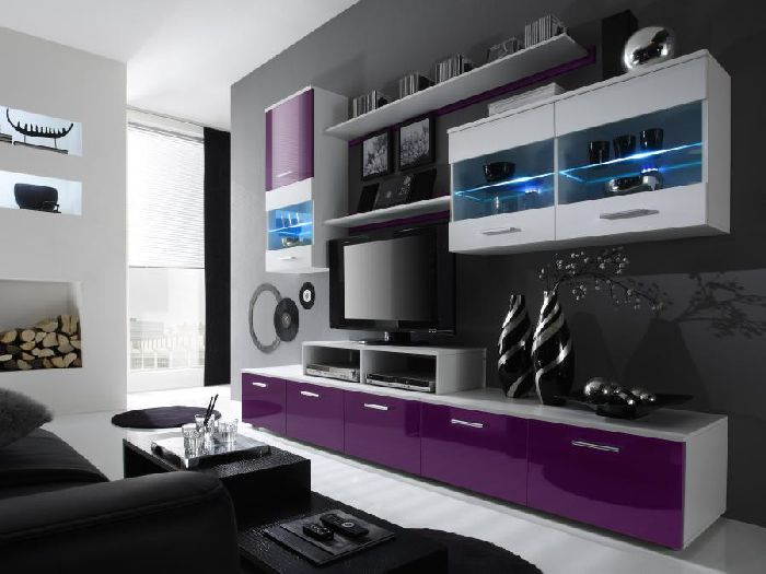 modernes haus wohnzimmer schwarz weiß grau ? bezdesign. wohnzimmer ... - Moderne Wohnzimmer Lila