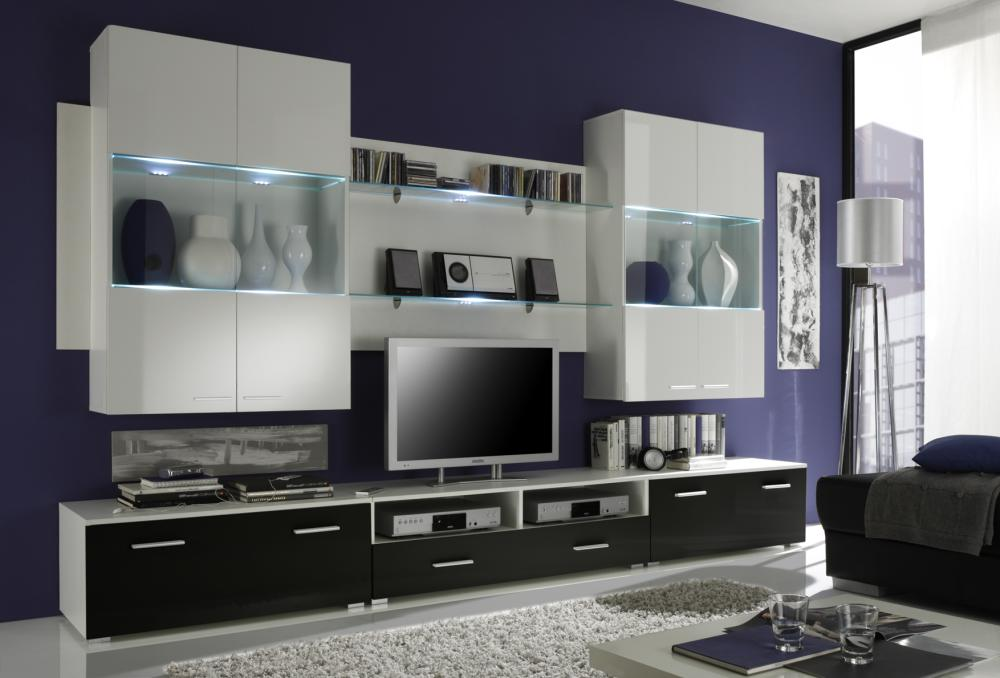 wohnzimmer schrankwand modern raum und m beldesign. Black Bedroom Furniture Sets. Home Design Ideas
