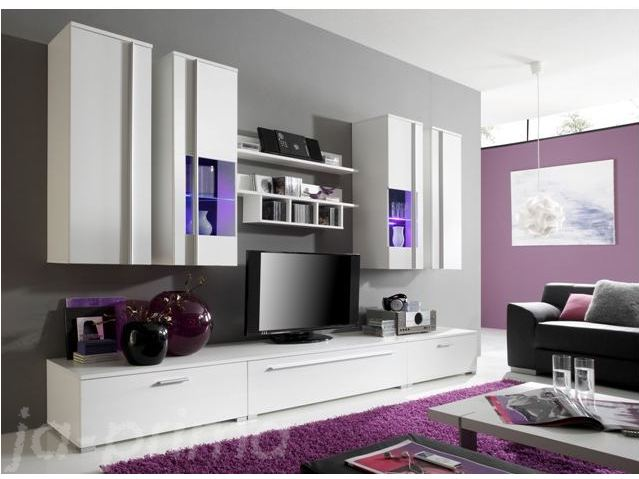 sofoert lieferbar wohnwand wohnzimmer schrankwand wei run led 108830 lager ebay. Black Bedroom Furniture Sets. Home Design Ideas