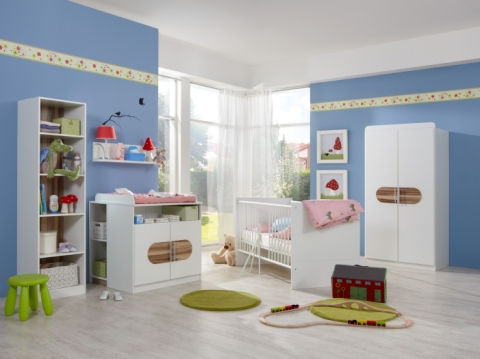 sofort lieferbar 6tlg komplett babyzimmer schrank bett. Black Bedroom Furniture Sets. Home Design Ideas