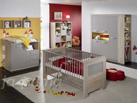 sofort lieferbar 6 tlg babyzimmer komplett schrank eiche s gerau 109081 ebay. Black Bedroom Furniture Sets. Home Design Ideas