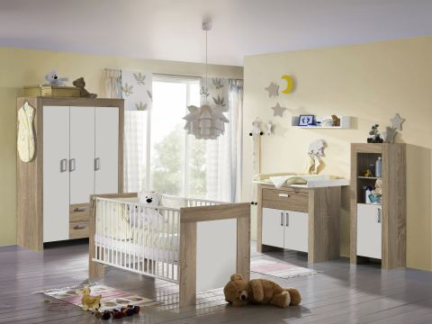TOP-QUALITAT-6-tlg-BABYZIMMER-KOMPLETT-SCHRANK-BETT-JANNE-EICHE-SAGERAU-109087