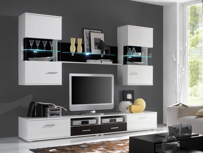 top angebot wohnwand anbauwand wohnzimmer gratis licht focus wei 109142 ebay. Black Bedroom Furniture Sets. Home Design Ideas