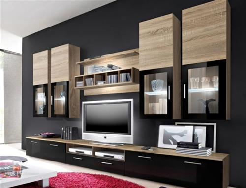 top angebot wohnwand wohnzimmer schrankwand lyra eiche. Black Bedroom Furniture Sets. Home Design Ideas