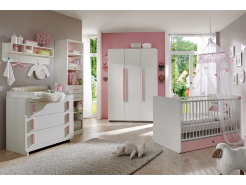4tlg babyzimmer komplett set babybett wickelkommode schrank maja wei rosa 9253 ebay. Black Bedroom Furniture Sets. Home Design Ideas