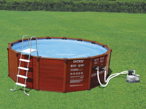 intex 28392 wood grain frame pool 569 x 135 cm komplettset swimmingpool ebay. Black Bedroom Furniture Sets. Home Design Ideas