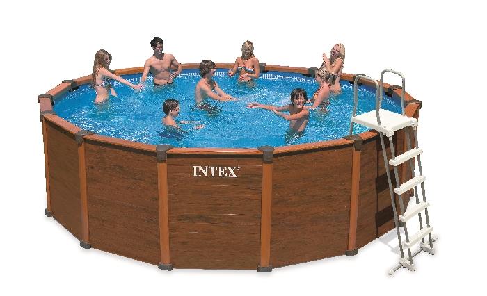 intex 28392 wood grain frame pool 569 x 135 cm komplettset swimmingpool ebay. Black Bedroom Furniture Sets. Home Design Ideas