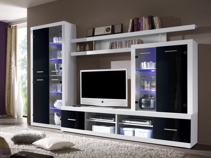 top angebot wohnwand wohnzimmer vitrine wohnwand cancan 4 lux 109446 ebay. Black Bedroom Furniture Sets. Home Design Ideas