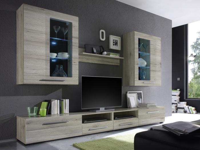 Top angebot wohnwand wohnzimmer vitrine puma 280 san for Wohnwand 280 cm