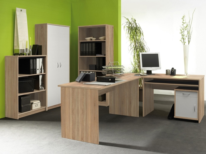 b ro set office compact komplett b rom bel schreibtisch aktenschrank regal 9611 ebay. Black Bedroom Furniture Sets. Home Design Ideas