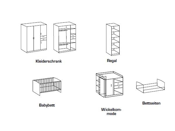 babyzimmer nicki 4tlg komplettset babybett schrank wickelkommode regal 109744. Black Bedroom Furniture Sets. Home Design Ideas