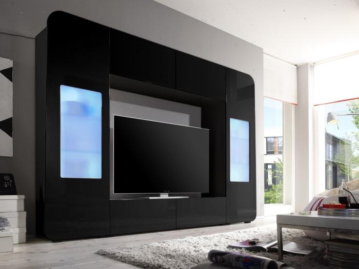 wohnwand kino schwarz wohnzimmer anbauwand schrankwand medienwand 109768 ebay. Black Bedroom Furniture Sets. Home Design Ideas