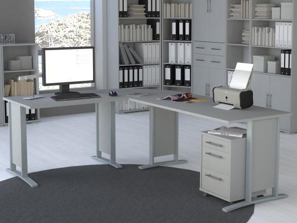 b ro office line megaset lichtgrau b rom bel komplettset arbeitszimmer 109769. Black Bedroom Furniture Sets. Home Design Ideas
