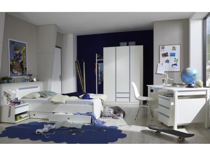 jugendzimmer bibi 4teilig blau kinderzimmer set jugendbett schreibtisch 109775 ebay. Black Bedroom Furniture Sets. Home Design Ideas