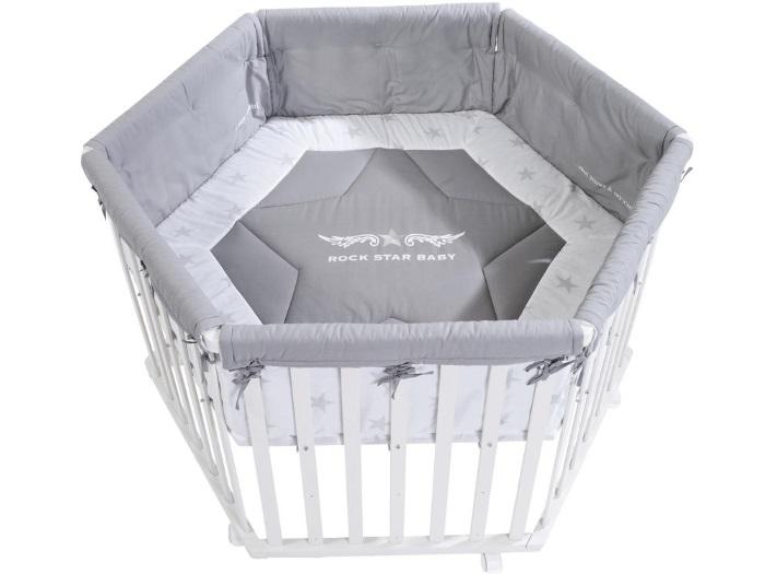 laufgitter roba rock star baby 2 laufstall wei 6eckig mit. Black Bedroom Furniture Sets. Home Design Ideas