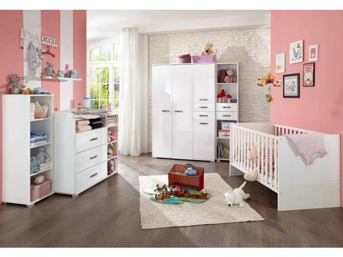 babyzimmer fabiola 6tlg babym bel babybett schrank wickelkommode regal 109790 ebay. Black Bedroom Furniture Sets. Home Design Ideas