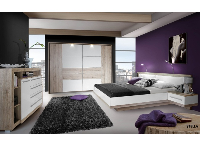 schlafzimmer stella schwebet renschrank mit beleuchtung bett kommode 109884 ebay. Black Bedroom Furniture Sets. Home Design Ideas