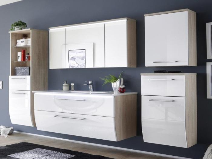 badezimmer miami 5tlg bad badm bel badezimmerschrank inklusive waschbecken110081 ebay. Black Bedroom Furniture Sets. Home Design Ideas