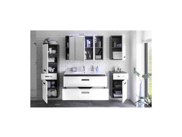 badezimmer manhattan 5tlg bad badm bel badezimmerschrank inkl waschbecken 110082 ebay. Black Bedroom Furniture Sets. Home Design Ideas