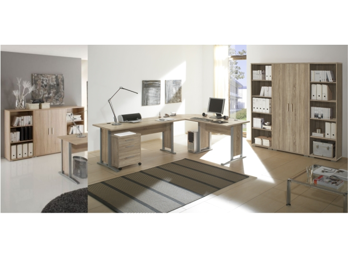 b ro office line eiche sonoma b rom bel komplett set schreibtisch 110124 ebay. Black Bedroom Furniture Sets. Home Design Ideas