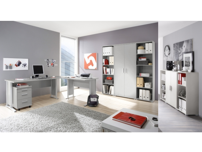 b ro office line grau b rom bel komplett set schreibtisch. Black Bedroom Furniture Sets. Home Design Ideas