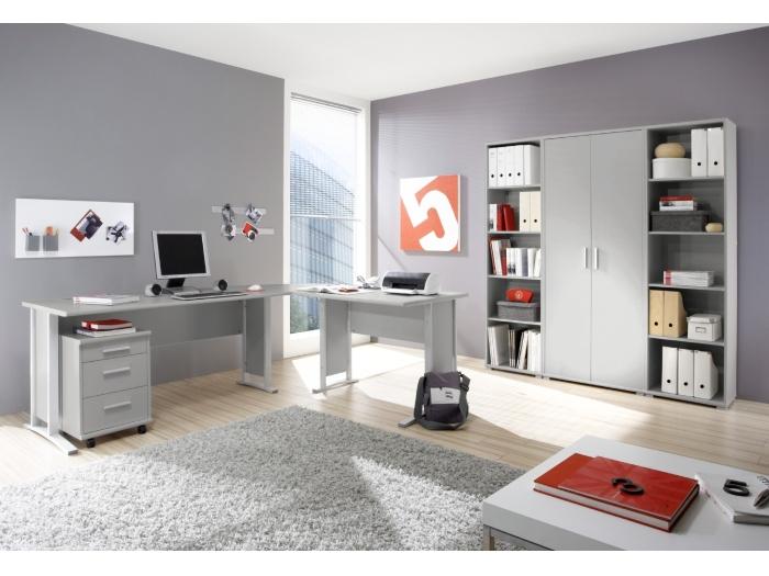 b ro office line grau b rom bel komplett set schreibtisch. Black Bedroom Furniture Sets. Home Design Ideas