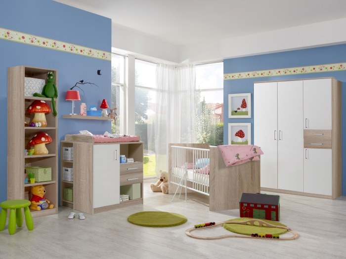 babyzimmer nicki baby babybett wickelkommode schrank verschiedene ausf hrungen ebay. Black Bedroom Furniture Sets. Home Design Ideas