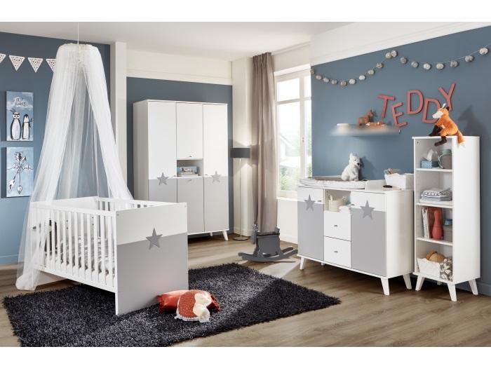 Babyzimmer Rocky von Wimex in Weiß und Light Grey 5 teiliges Megaset