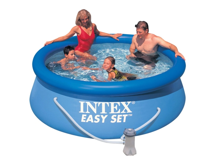 intex 28112 quick up 244 x 76 cm easy set swimming pool aufblasbar komplettset ebay. Black Bedroom Furniture Sets. Home Design Ideas