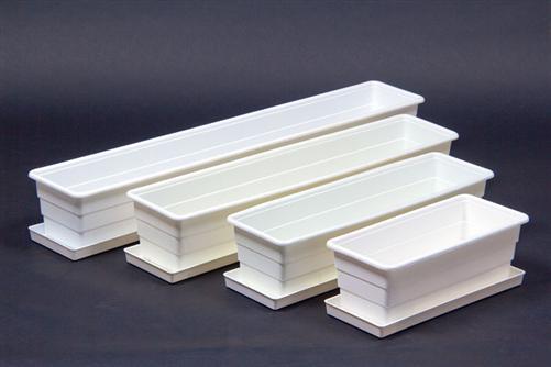 balkonkasten blumenkasten wei untersetzer wei in verschiedenen gr en ebay. Black Bedroom Furniture Sets. Home Design Ideas