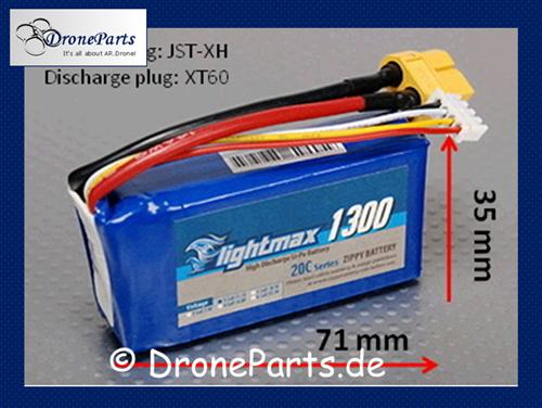 AR.Drone 1.0 & 2.0 Flightmax TUNING-LIPO 1300mAh incl. Adapter!