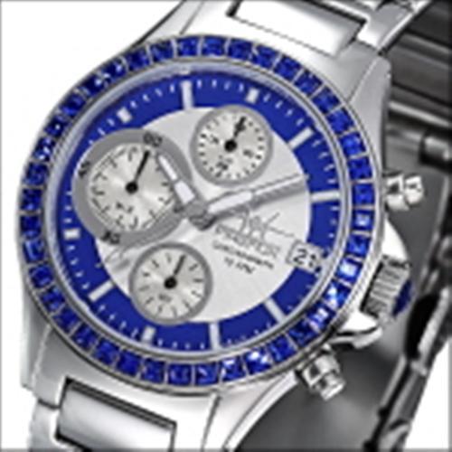 FIREFOX Damenuhr Edelstahl Chronograph Zirkoniasteine FFS177-103 blau