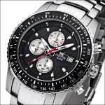 FIREFOX Stahl Chronograph FFS18-102 Blatt schwarz/silb.