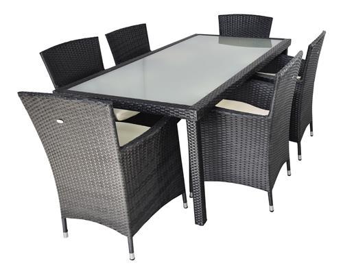 gartenm bel mexiko schwarz essgruppe polyrattan ebay. Black Bedroom Furniture Sets. Home Design Ideas