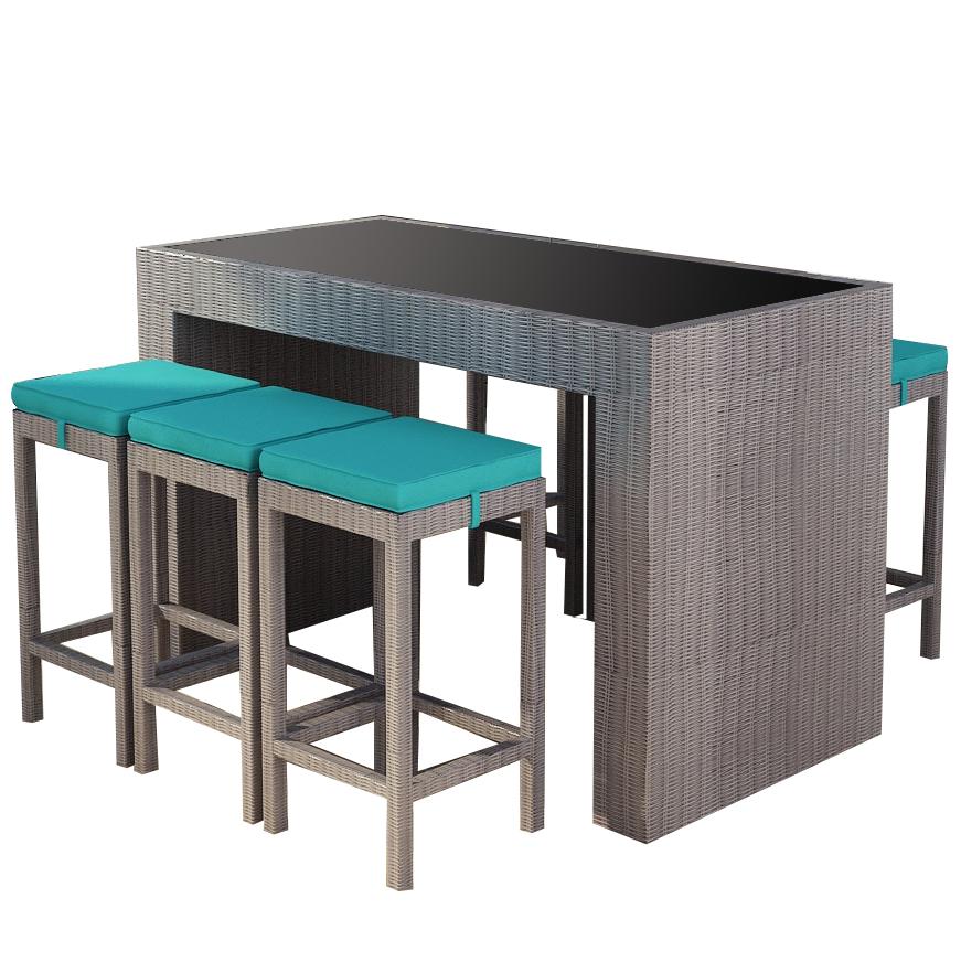 gartenm bel polyrattan new orleans essgruppe in grau ebay. Black Bedroom Furniture Sets. Home Design Ideas