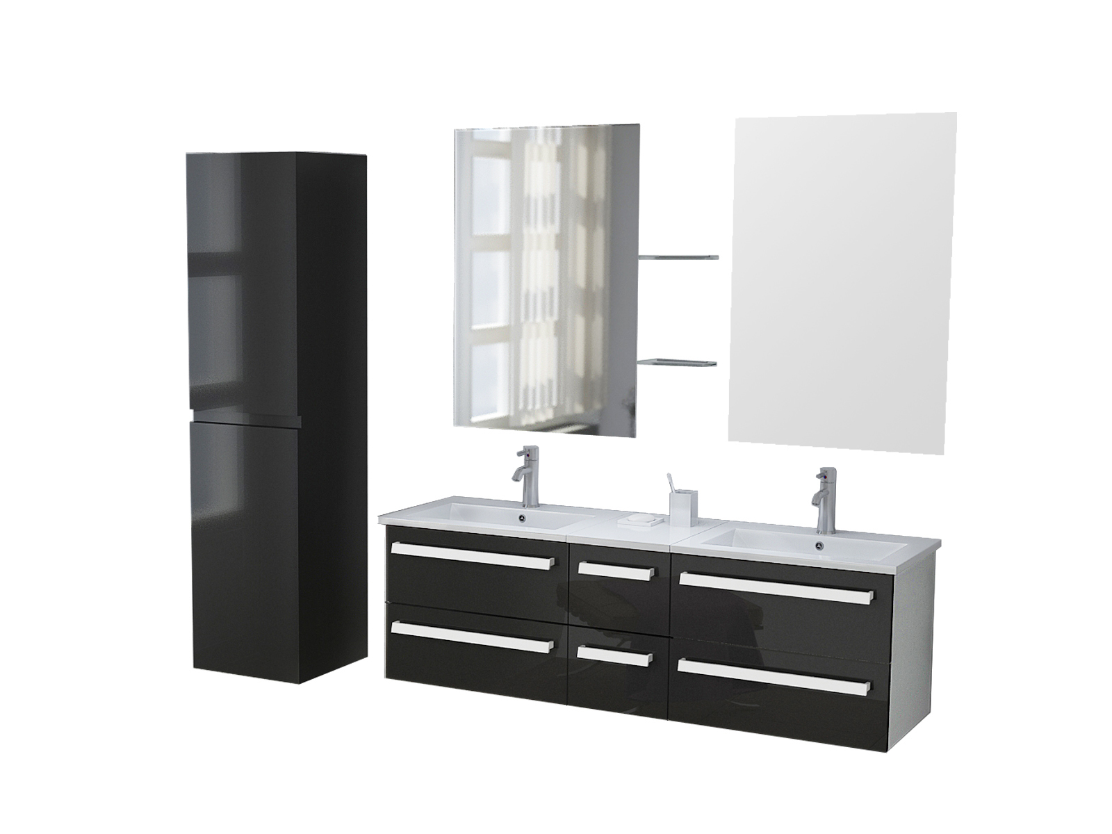 badm bel waschtisch waschbecken set z rich black ebay. Black Bedroom Furniture Sets. Home Design Ideas