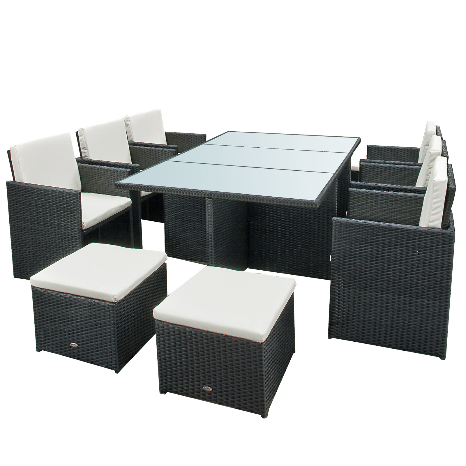 poly rattan gartenm bel garten garnitur bali gartenset 6 st hle tisch 4 hocker ebay. Black Bedroom Furniture Sets. Home Design Ideas