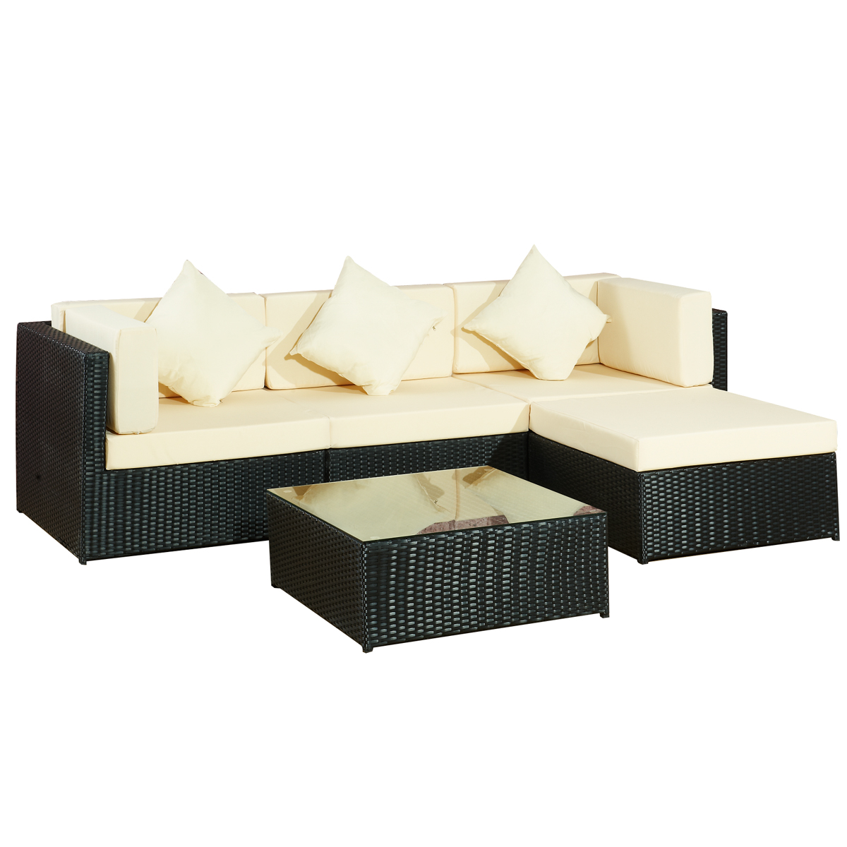 gartenm bel lounge sofa bergen ii schwarz beige gartenlounge set polyrattan. Black Bedroom Furniture Sets. Home Design Ideas