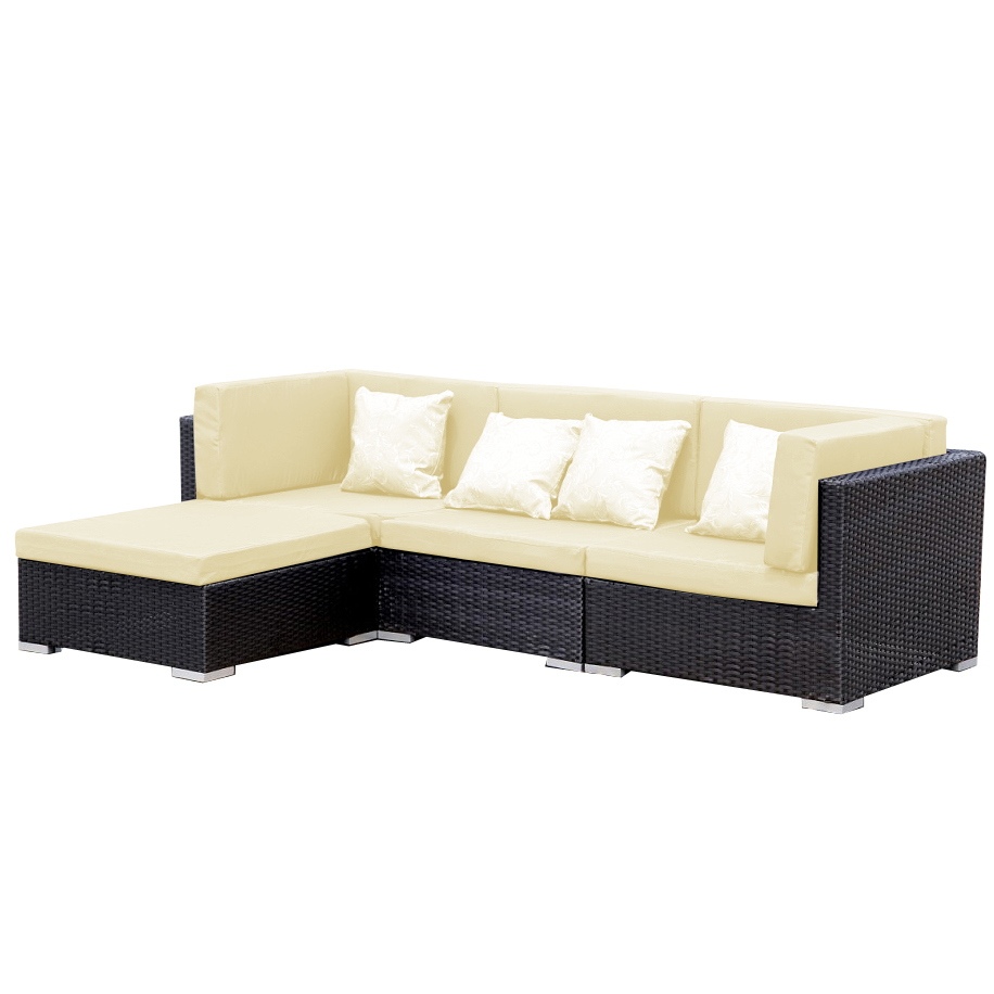 gartenm bel gartenlounge polyrattan sofa bergen beige schwarz ebay. Black Bedroom Furniture Sets. Home Design Ideas