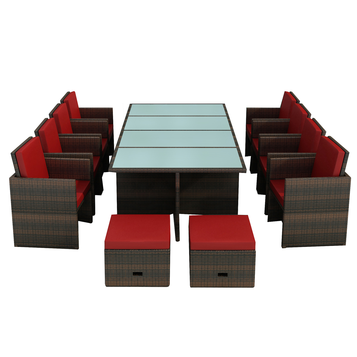 gartenm bel essgruppe bogota braun rot 8 personen. Black Bedroom Furniture Sets. Home Design Ideas