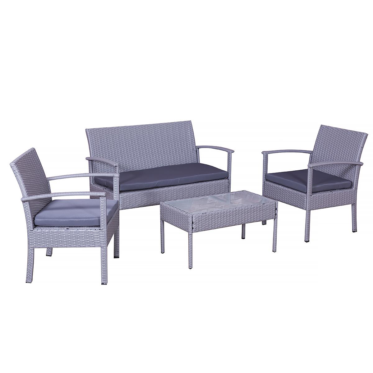 grenoble in grau grau gartenset garten lounge neu. Black Bedroom Furniture Sets. Home Design Ideas