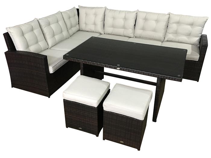 gartenset la palma sitzgruppe loungem bel in braun moebel garten polyrattan neu. Black Bedroom Furniture Sets. Home Design Ideas