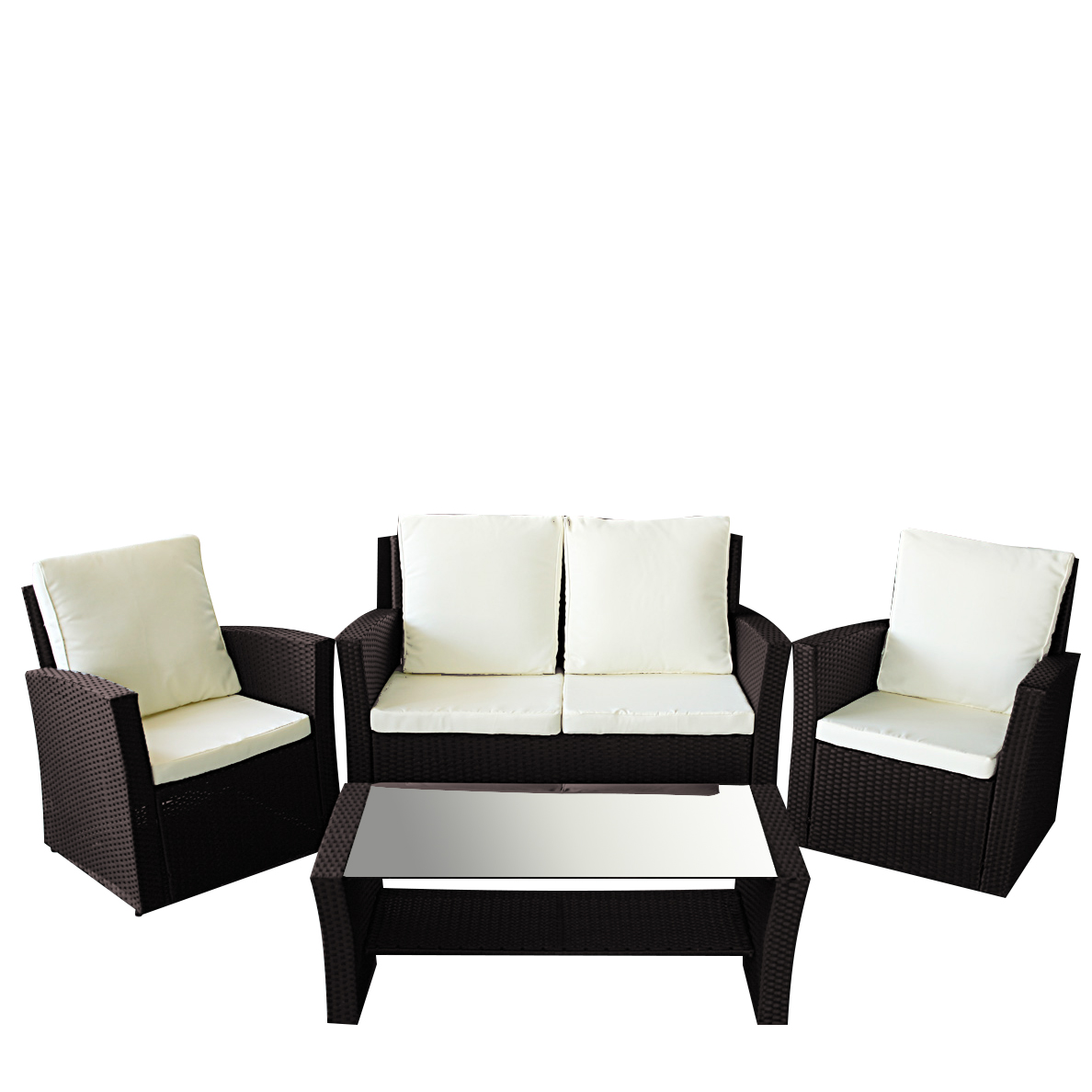 gartenm bel polyrattan sitzgruppe garten lounge le havre braun ebay. Black Bedroom Furniture Sets. Home Design Ideas