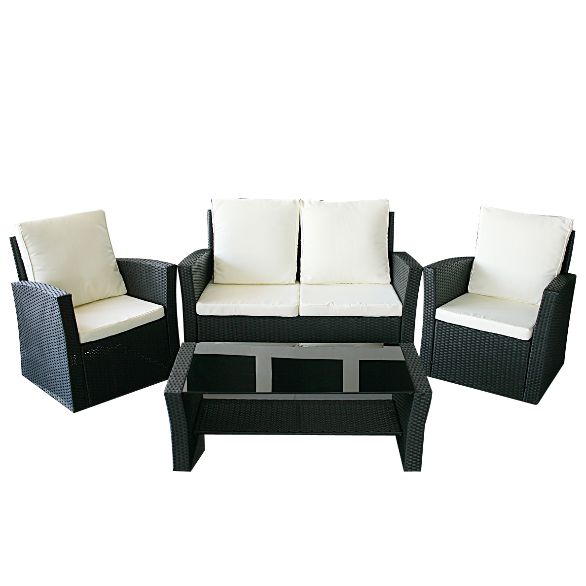 gartenm bel polyrattan sitzgruppe lounge in schwarz garten m bel le havre ebay. Black Bedroom Furniture Sets. Home Design Ideas