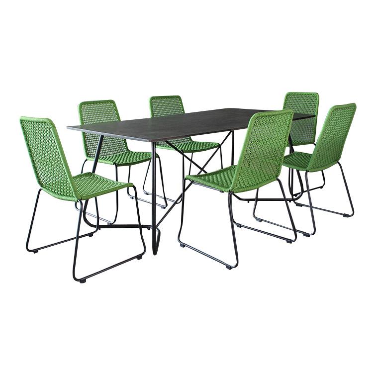 gartenset gartenmoebel martinique green rope 6 stuhle tisch exclusiv gr n ebay. Black Bedroom Furniture Sets. Home Design Ideas