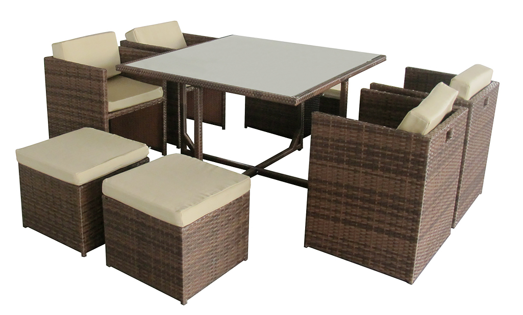 gartenm bel essgruppe 4 personen miami ii brown garten moebel ebay. Black Bedroom Furniture Sets. Home Design Ideas