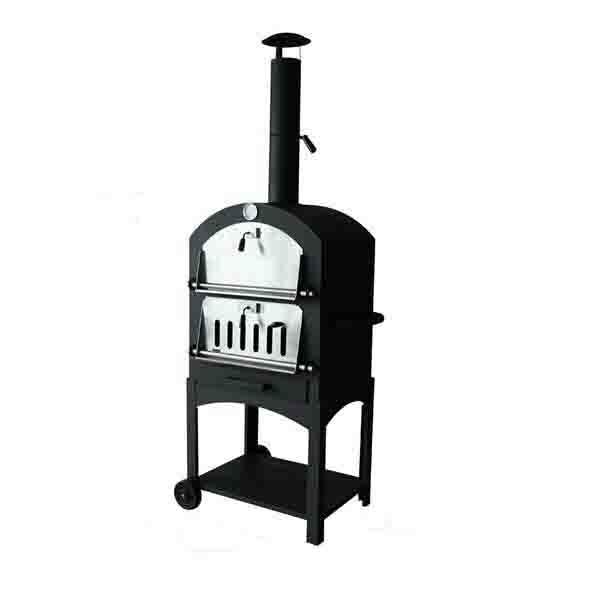 pizzaofen pizza grill und smoker in schwarz mit pizzastein bbq garten ofen. Black Bedroom Furniture Sets. Home Design Ideas